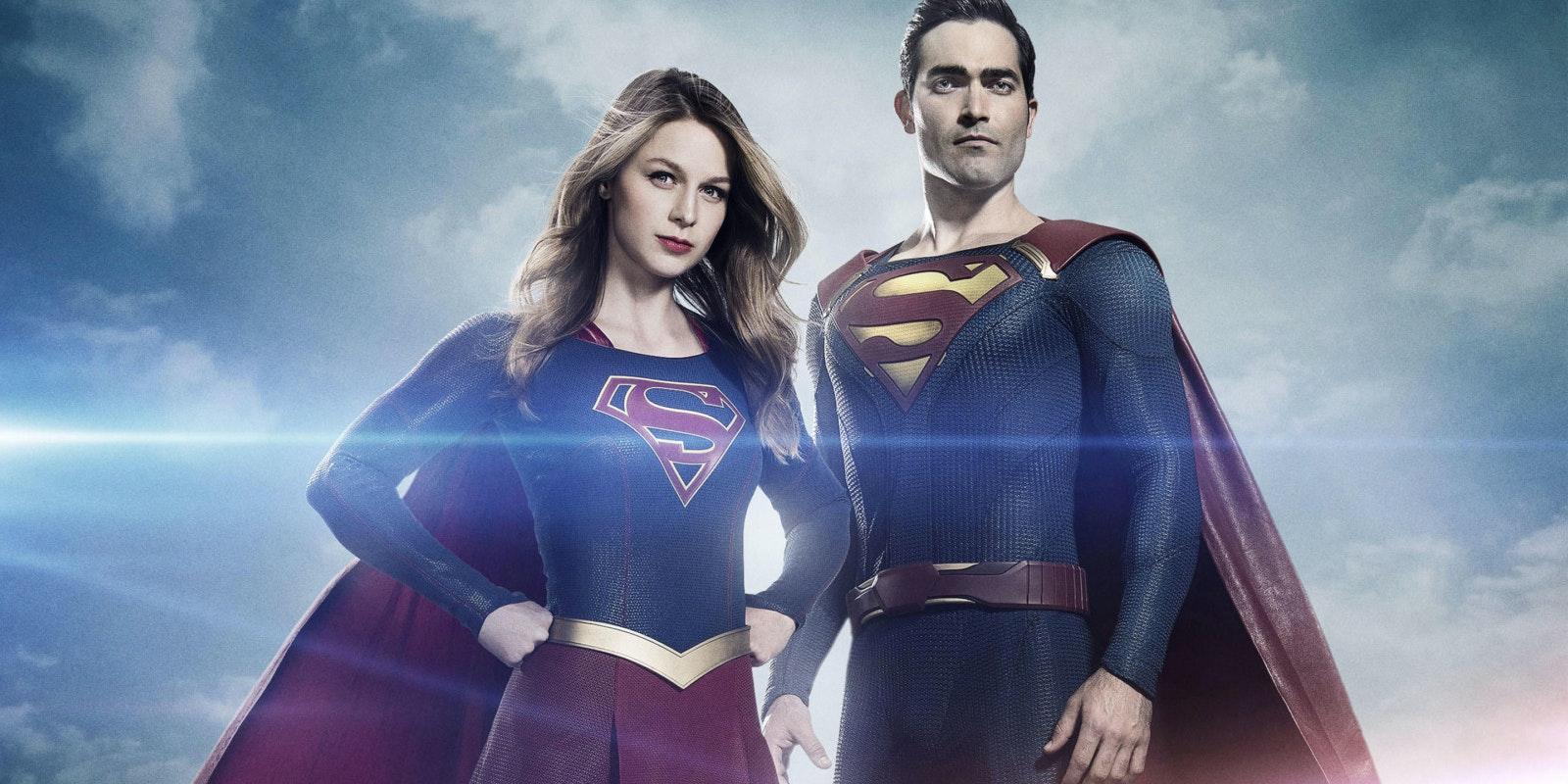 Melissa Benoist and Tyler Hoechlin as Supergirl and Superman.