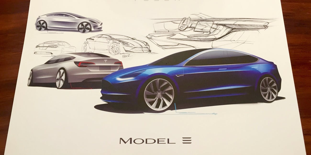 Some of the Tesla Model 3 design sketches