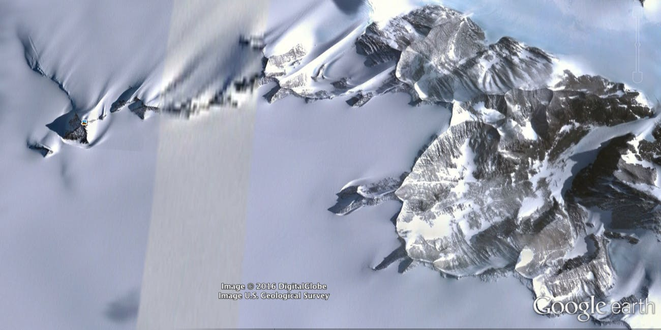 Antarctica pyramid mountain UFO base