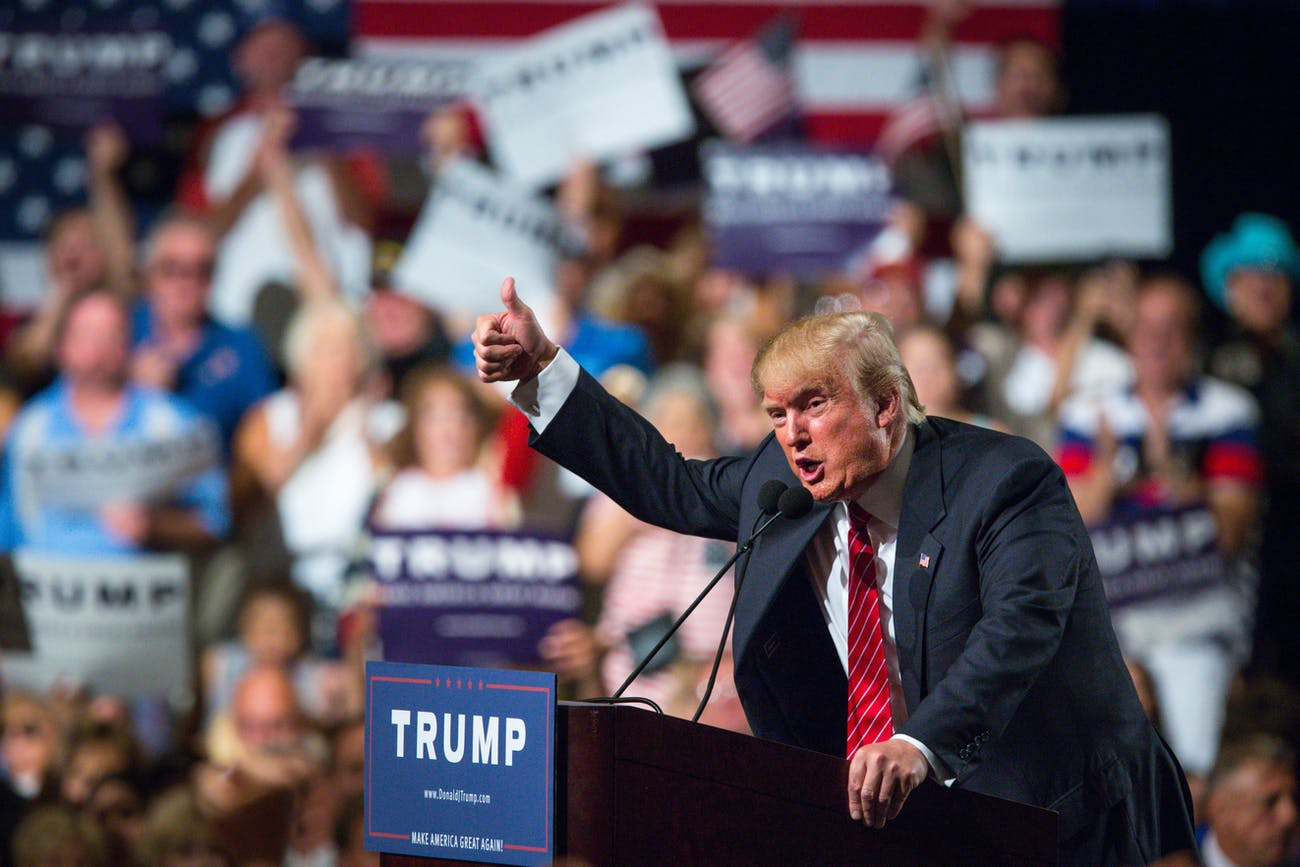 Then-candidate Donald Trump at the Phoenix Convention Center in July 2015 in Phoenix, Arizona. He spoke about illegal immigration about 4,000 people.