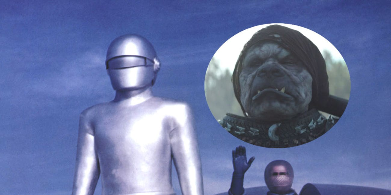 Gort and Klaatu in 'The Day the Earth Stood Still'; Inset: a Klatooinian from 'The Mandalorian'