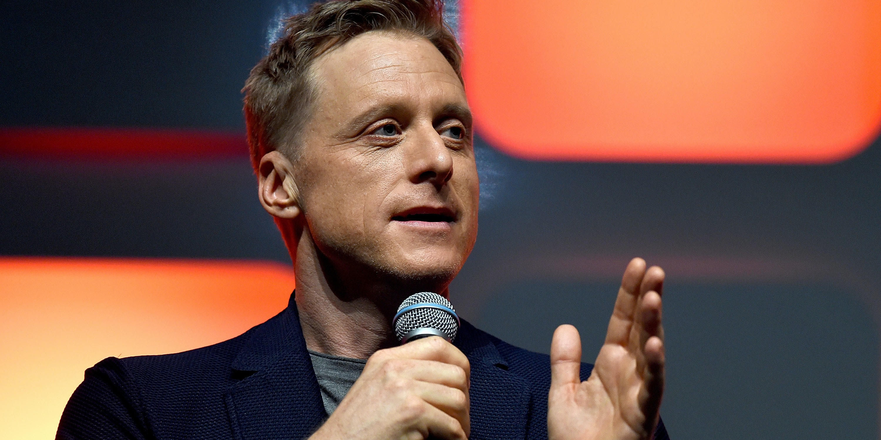 LONDON, ENGLAND - JULY 15:  Alan Tudyk on stage during the Rogue One Panel at the Star Wars Celebration 2016 at ExCel on July 15, 2016 in London, England.  (Photo by Ben A. Pruchnie/Getty Images for Walt Disney Studios)