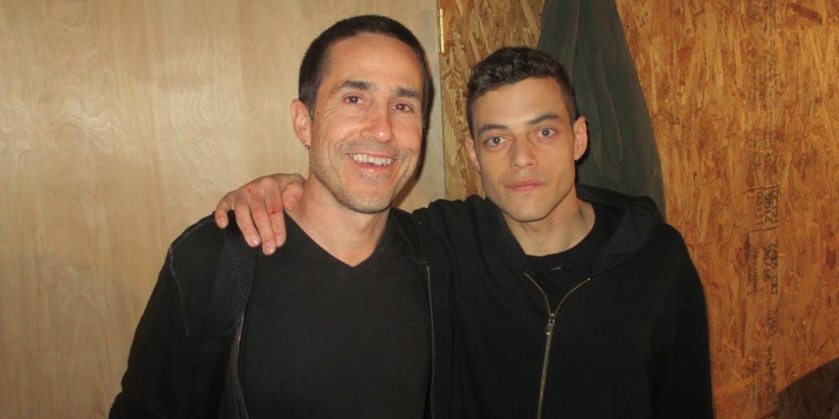 Mac Quayle (left) with 'Mr. Robot' star Rami Malek (right).