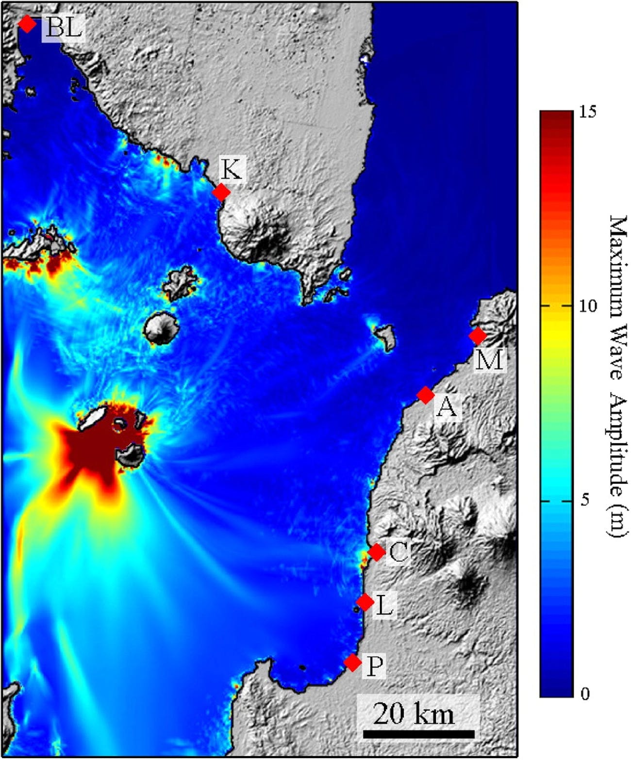 A simulation of a volcanic event showed the potential for waves of 15 meters or more locally (in red) emanating from the site of Anak Krakatau.
