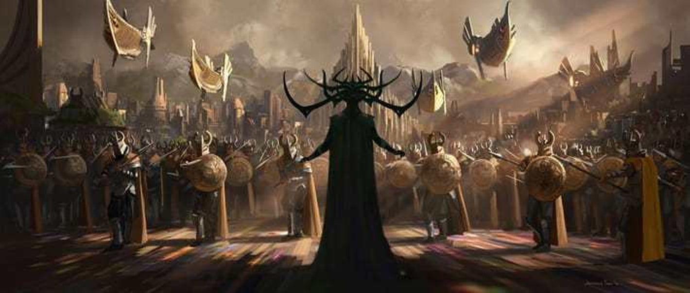 The incredibly Maleficent-esque concept art from 'Ragnarok' shows Hela facing off against an Asgardian army.
