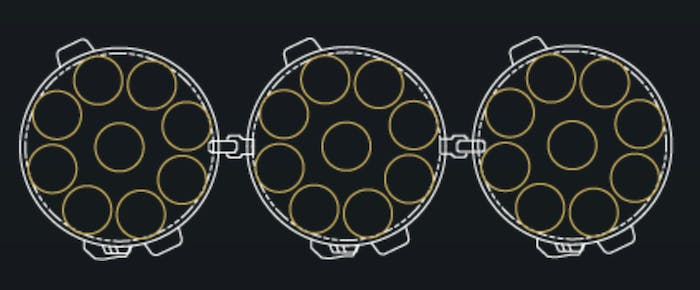 The layout of Merlin 27 engines across three boosters in the Falcon Heavy.