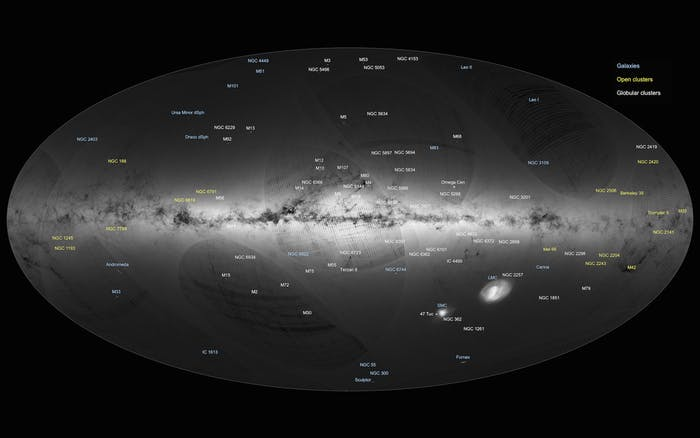 Annotated version of the all-sky view of stars in the Milky Way, based on the first year of observations from ESA's Gaia satellite, from July 2014 to September 2015.