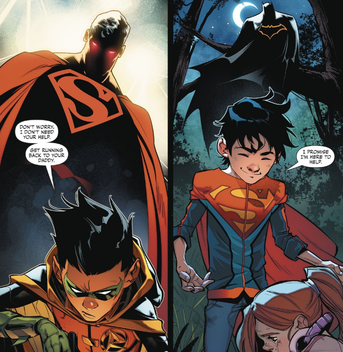 Superman isn't too happy about Damian basically kidnapping his son; Batman probably thinks Jon is a little goody two-shoes.