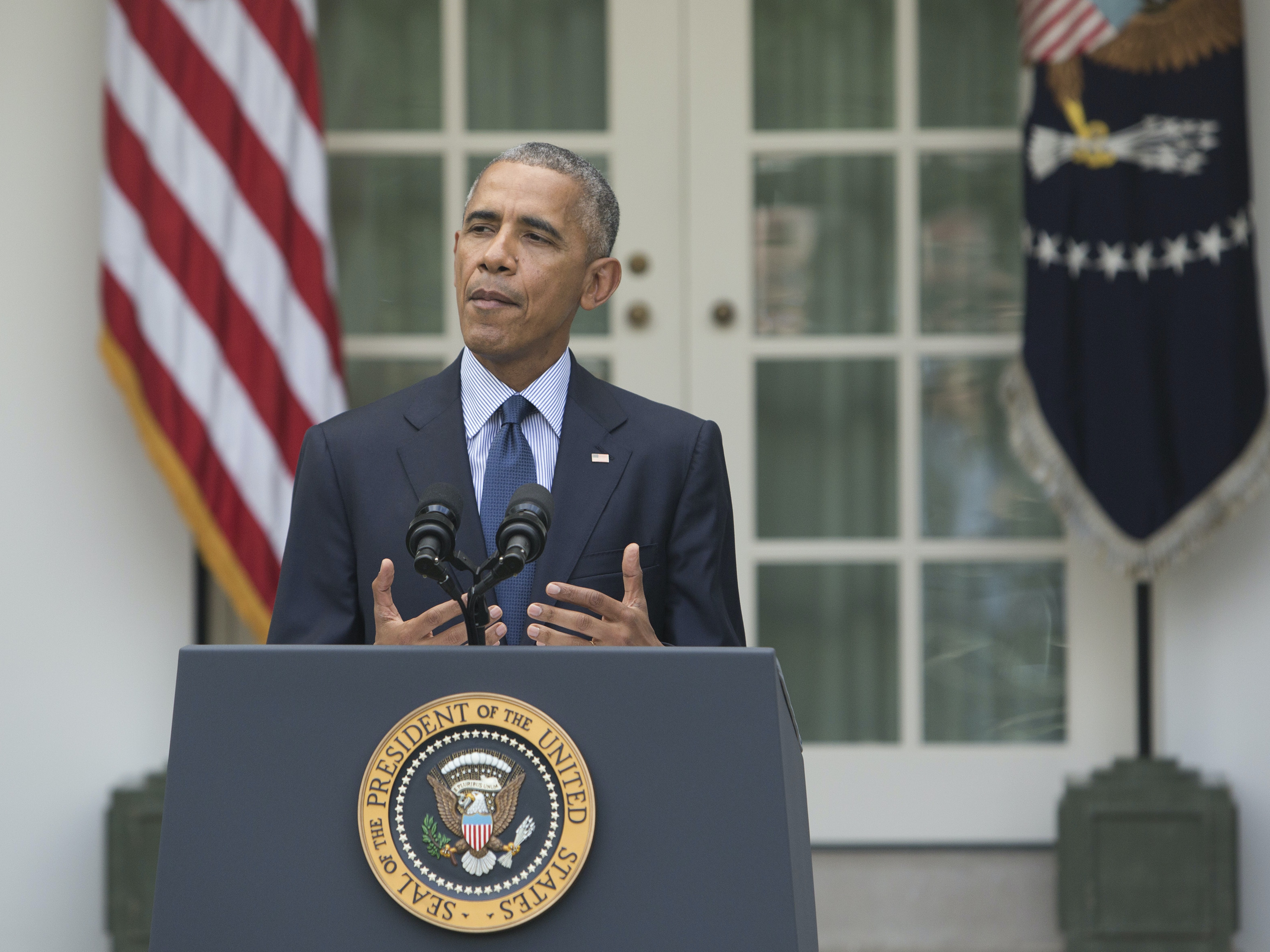 WASHINGTON, DC - OCTOBER 5: U.S. President Barack Obama makes a statement on the Paris Agreement at The White House October 5, 2016 in Washington D.C. The Paris Agreement is an international accord aimed at substantially decreasing greehouse gas emissions and global warming. (Photo by Chris Kleponis-Pool/Getty Images)