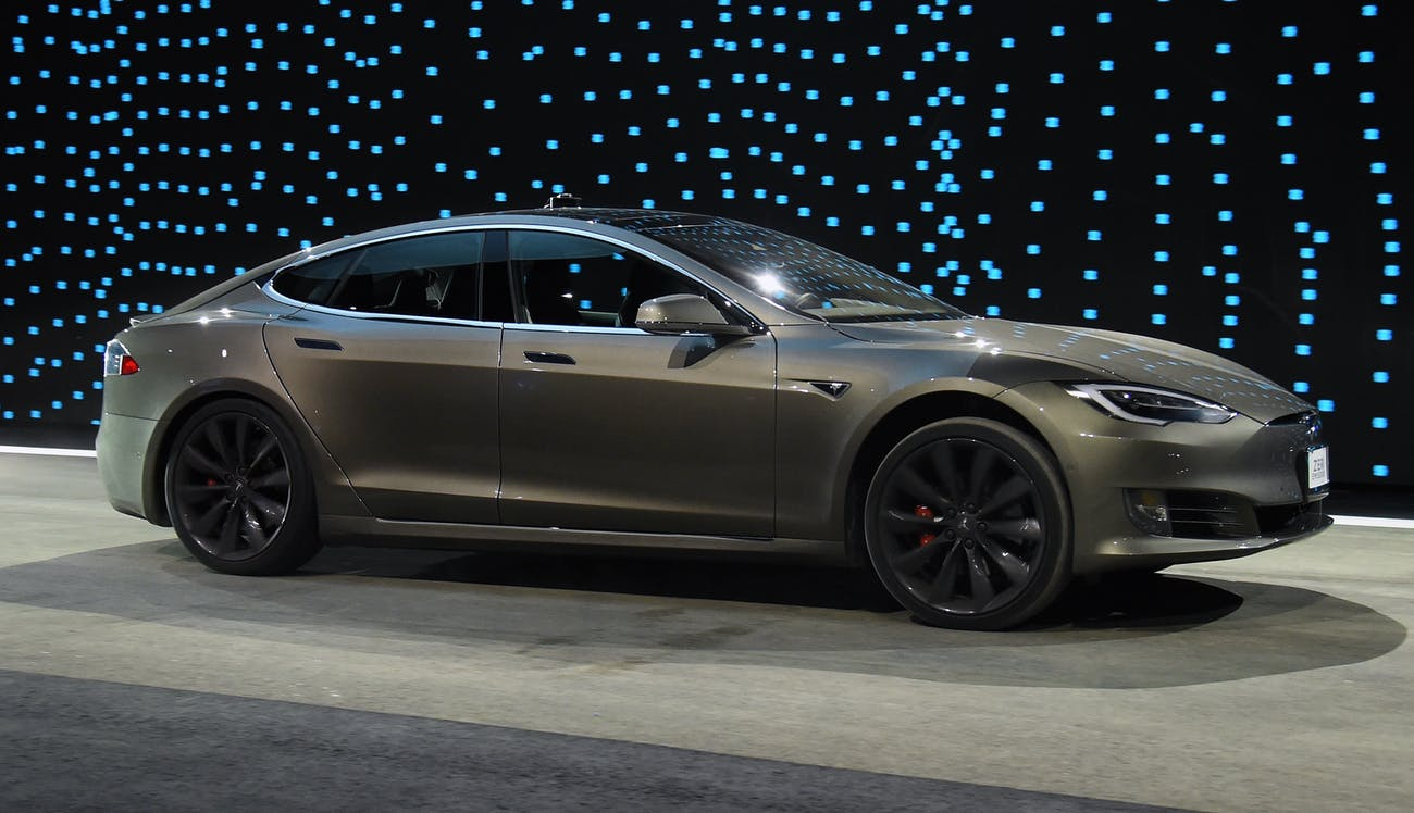 A Tesla Model S, the bigger brother of the Model 3.