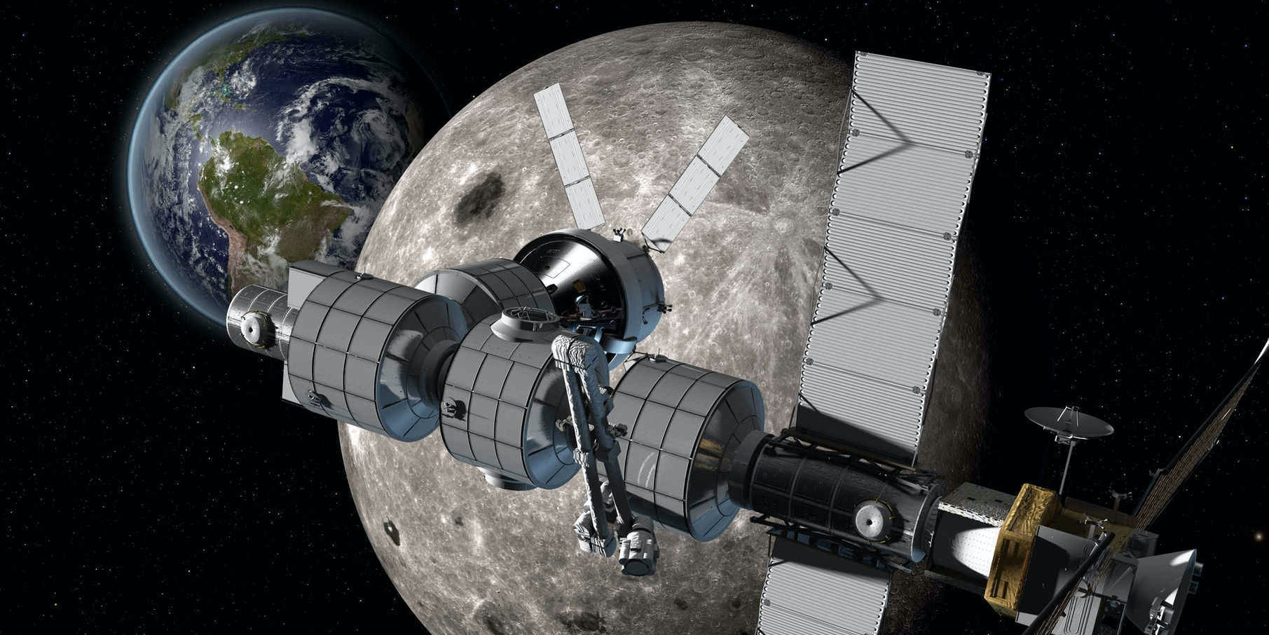 Artist's rendering of Boeing's proposed crewed lunar station.