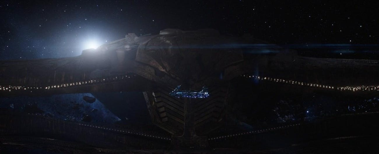 Thanos's ship dwarf's Thor's.