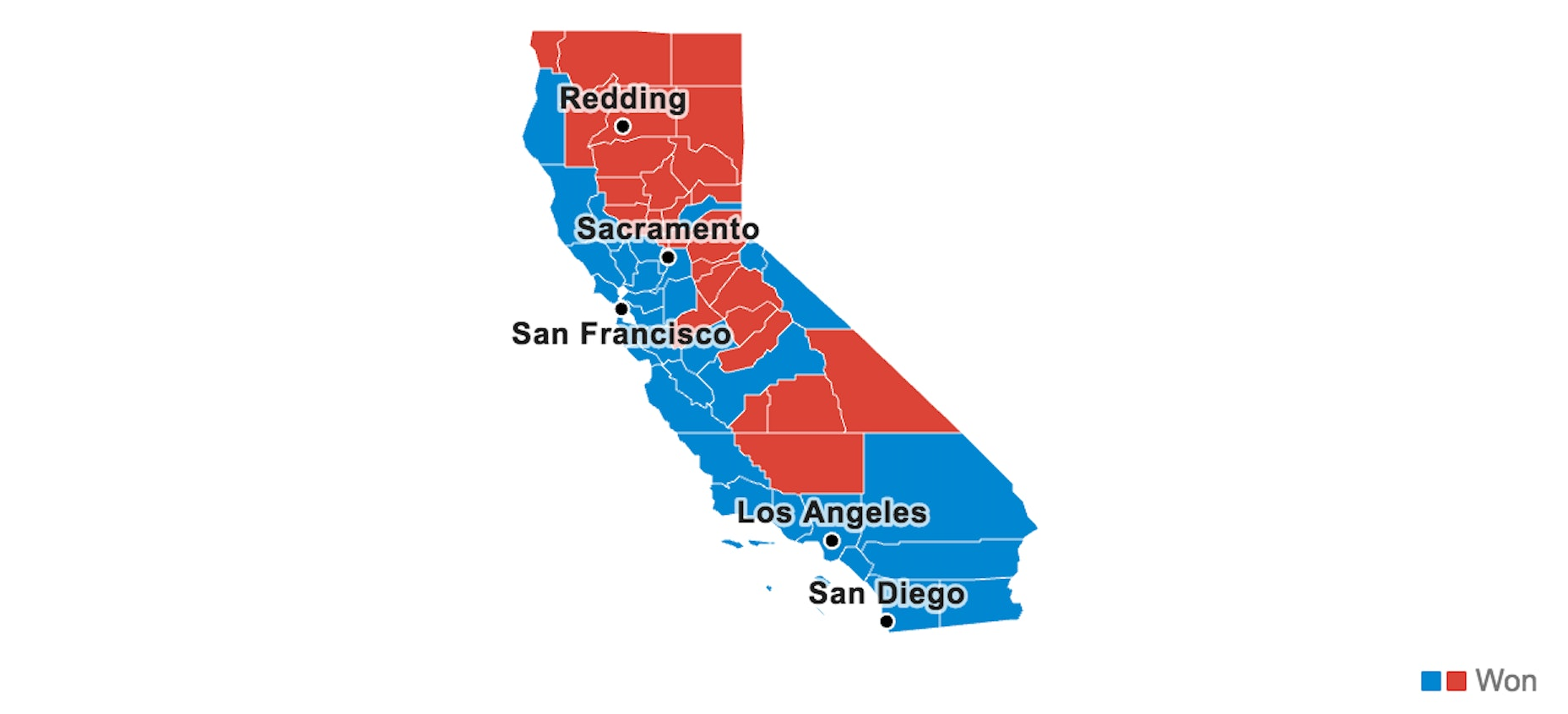 Clinton support in Blue, Trump support in red.