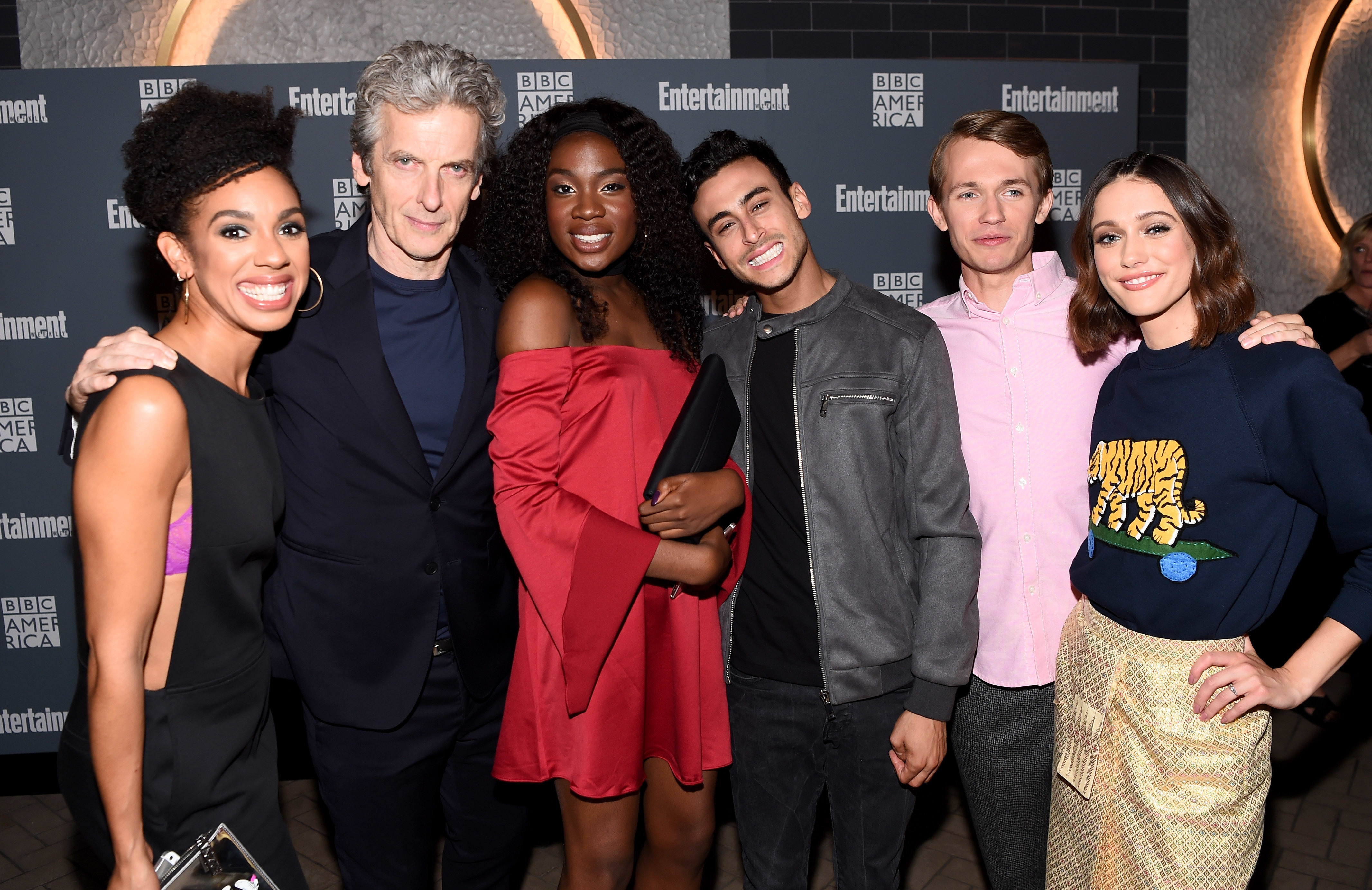 NEW YORK, NY - OCTOBER 06:  Fady Elsayed, Vivan Oparah, Peter Capaldi, Sophie Hopkins, Pearl Mackie and Greg Austin attend EW Hosts An Evening With BBC America on October 6, 2016 in New York City.  (Photo by Dave Kotinsky/Getty Images for Entertainment Weekly)