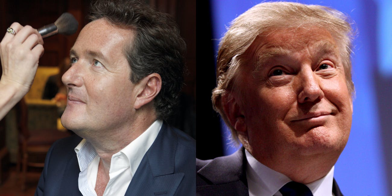Piers Morgan and Donald Trump. An interview with Morgan and Trump will air Sunday, January 28, 2018.