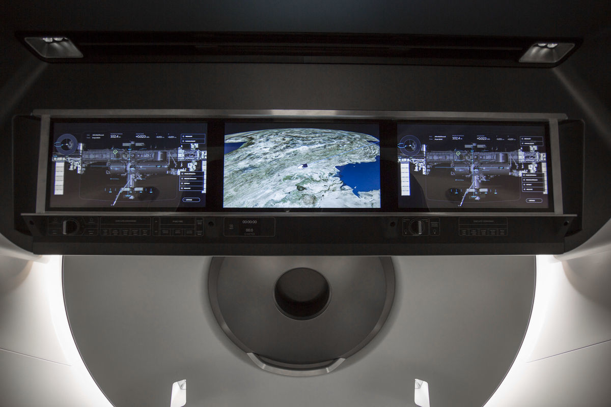 The Dragon 2's displays can show passengers the spacecraft's current state.