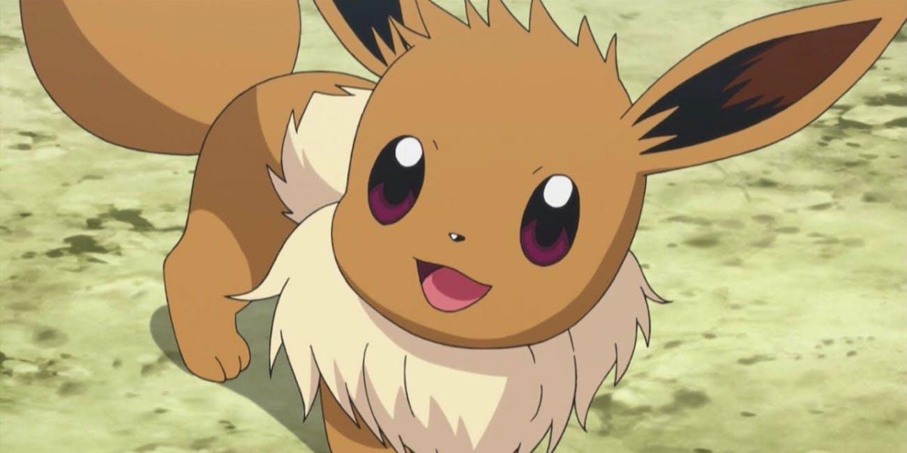 Eevee as it appears in the Pokémon anime.