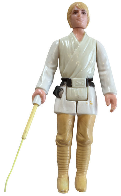 A Luke Skywalker with double-telescoping lightsaber, which was created before 'Star Wars' figures were released to the public in 1977. This particular figure is valued at over $1,000.