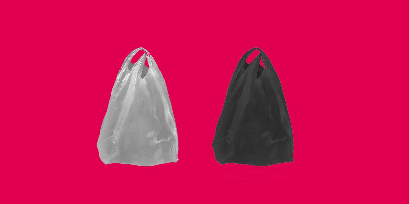 plastic bags on red background