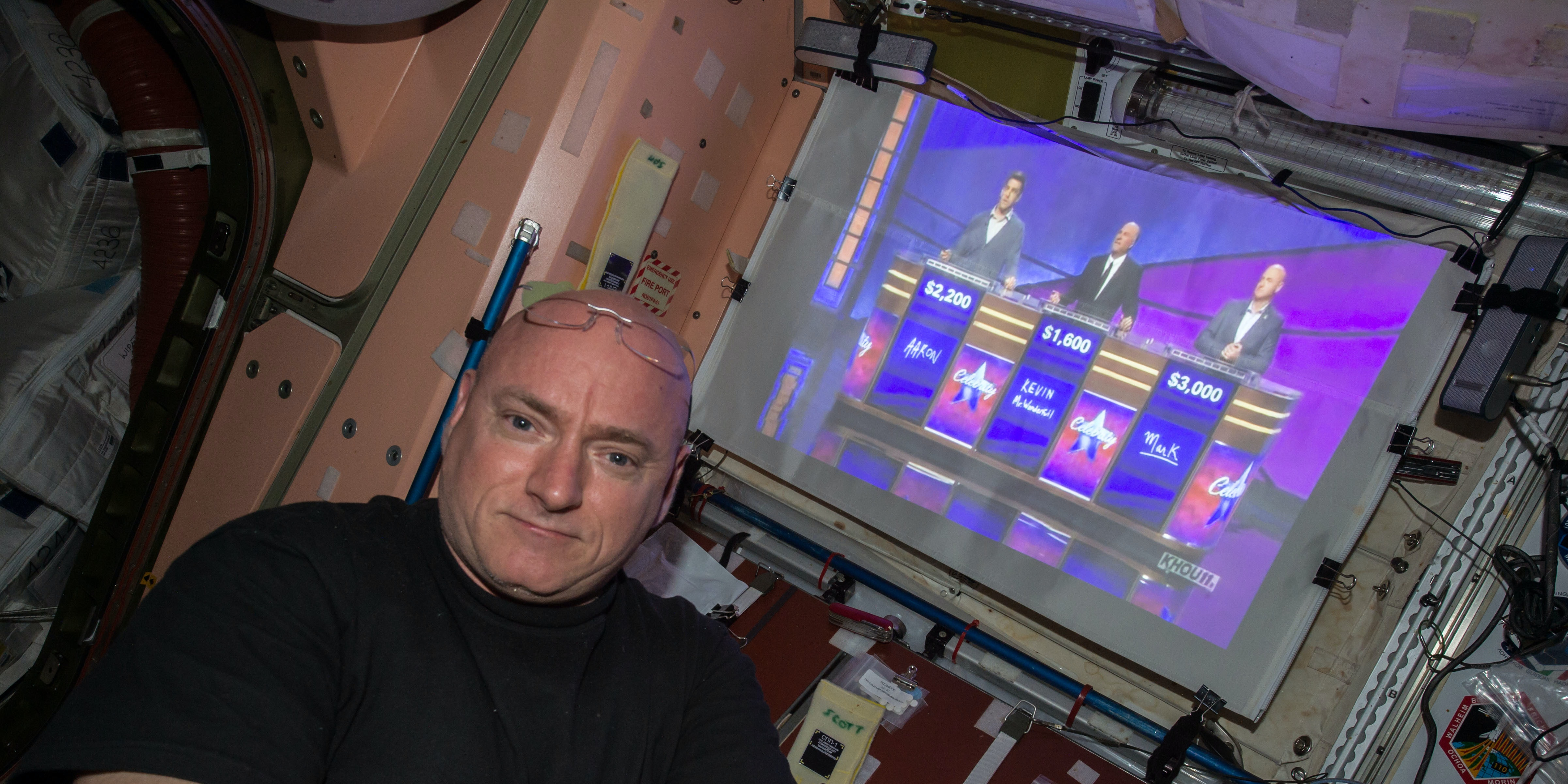 Astronaut Scott Kelly watches Jeopardy! in space.