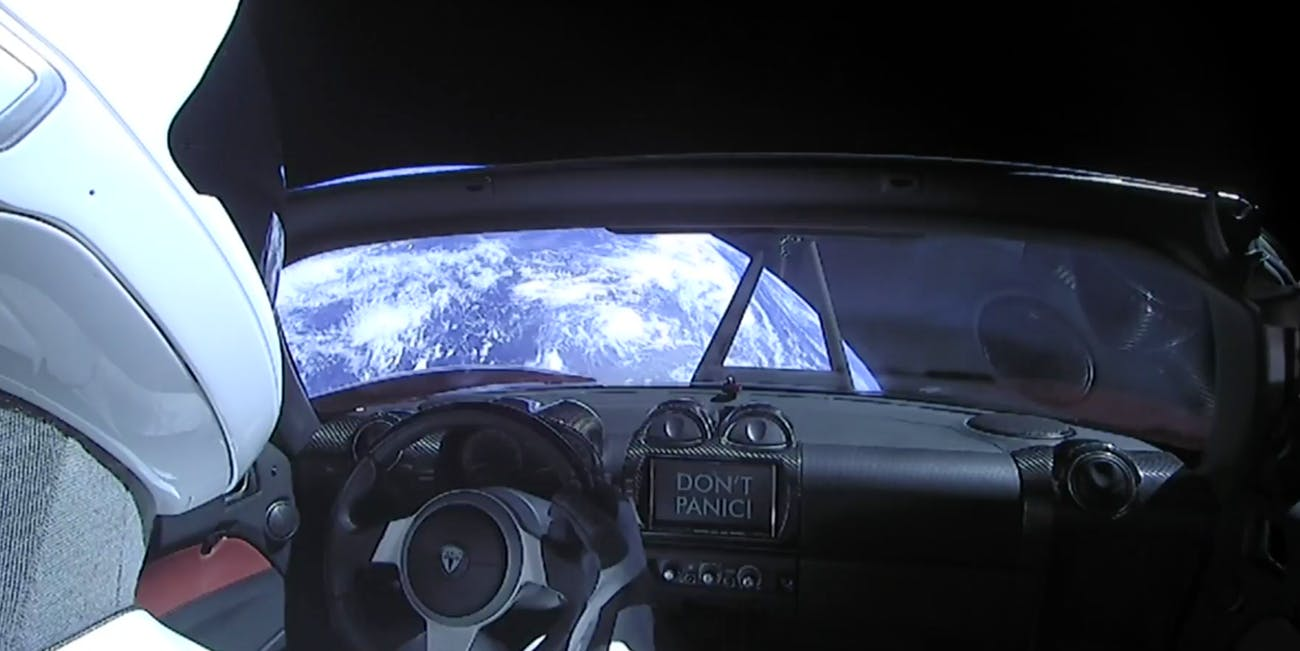 'Starman' in Elon Musk's red Roadster after the Flacon Heavy test launch.