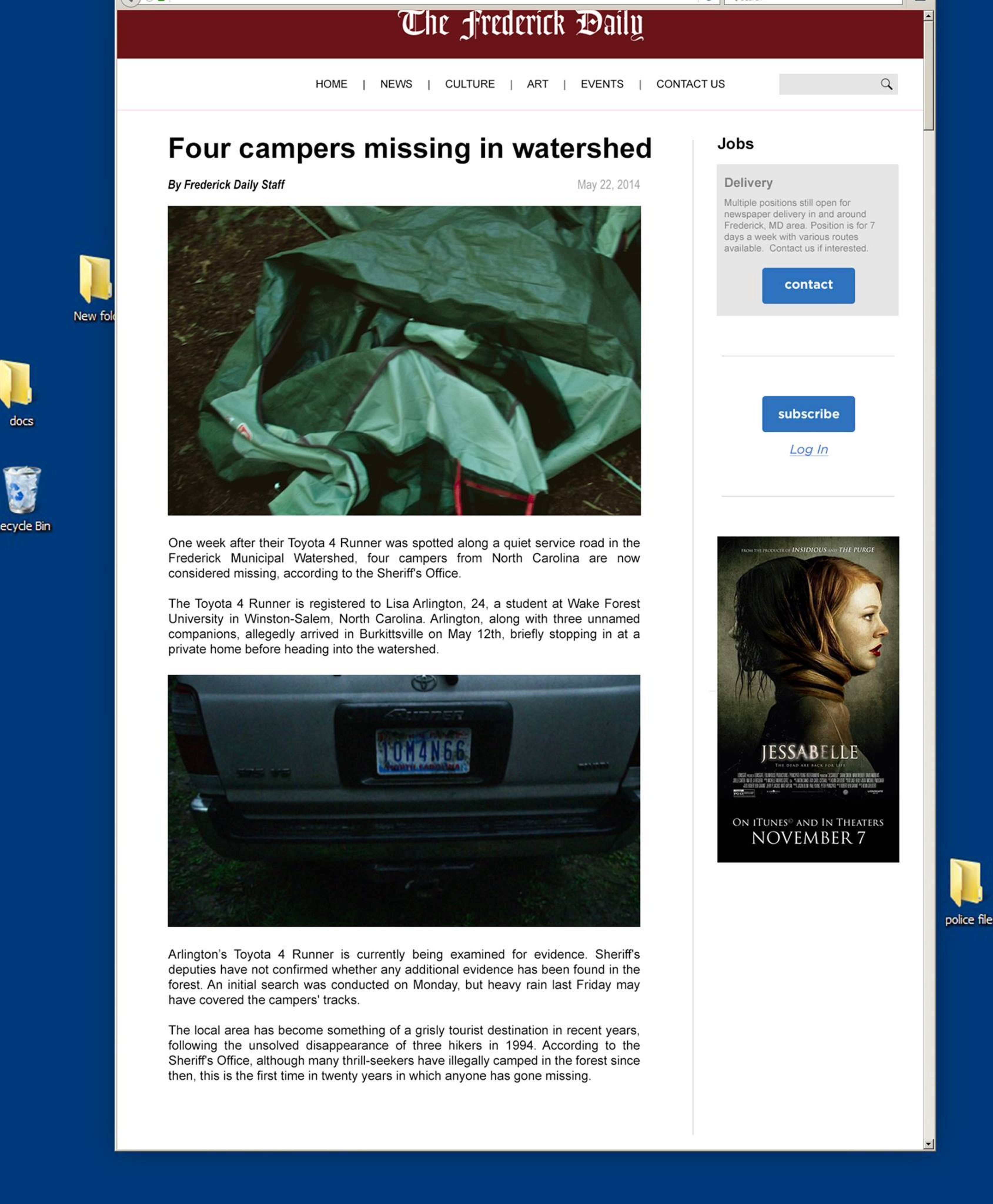 Fake Facebook newspaper page for Blair Witch