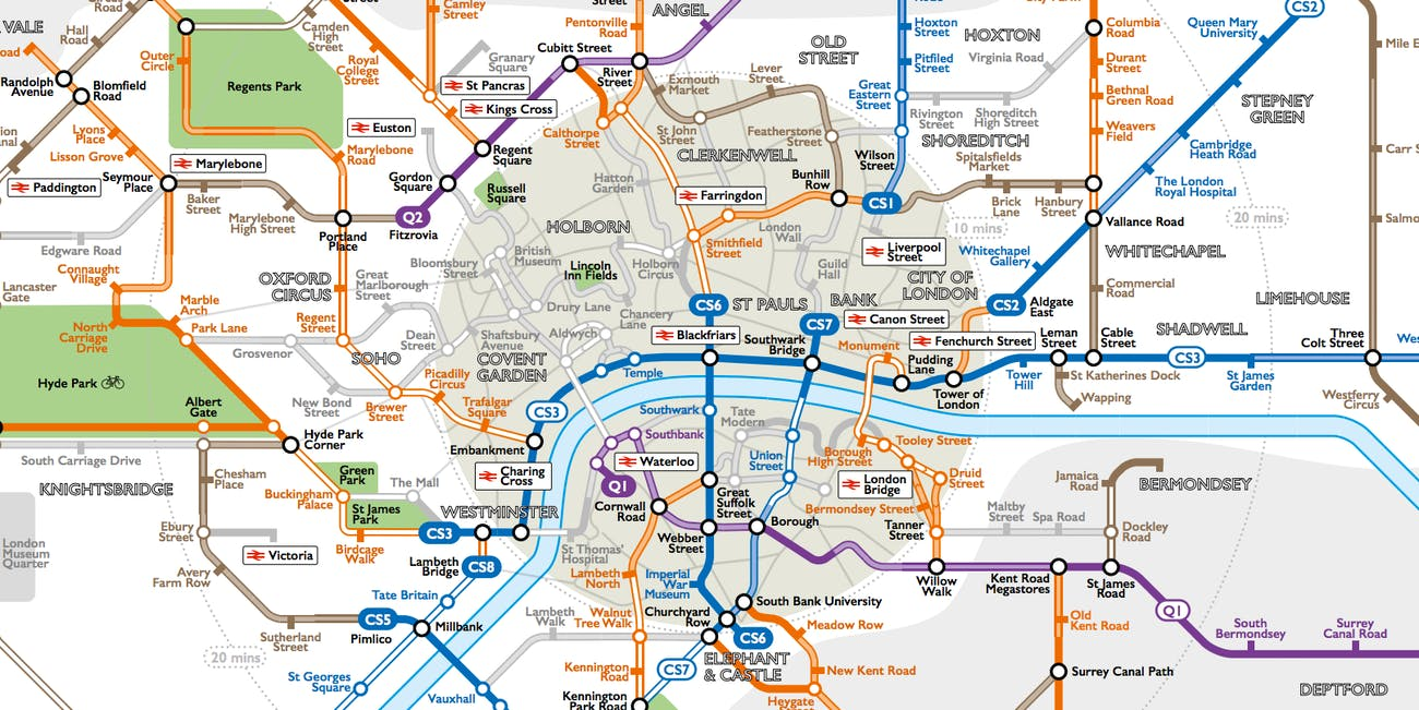 this tube-style map reveals london's intricate cycle path network