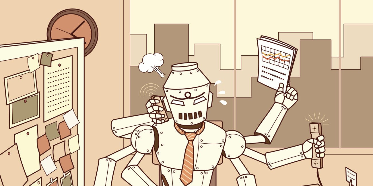 busy robot working