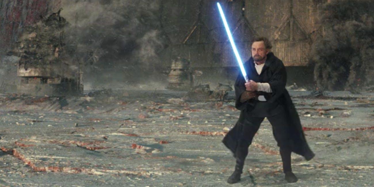 Luke Skywalker smirks at Kylo Ren in 'Star Wars: The Last Jedi'