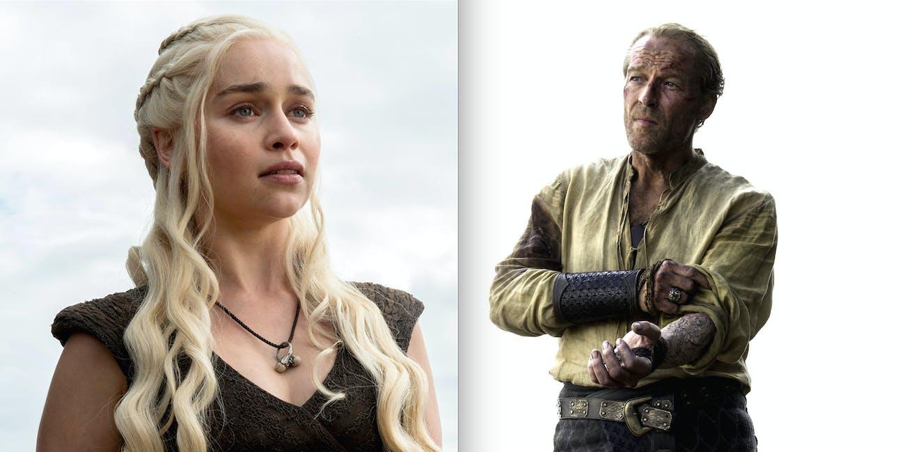 Iain Glen as Jorah Mormont and Emilia Clarke as Daenerys Targaryen on 'Game of Thrones'