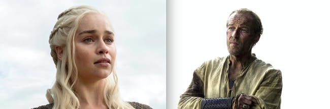 Iain Glen as Jorah Mormont and Emilia Clarke as Daenerys Targaryen on 'Game of Thrones'