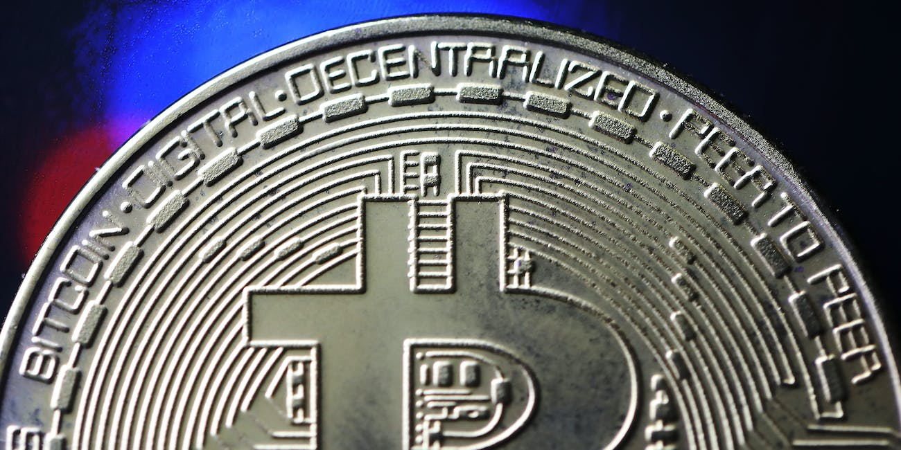 bitcoin closeup of a token cryptocurrency