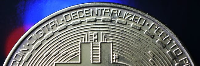 bitcoin closeup of a token cryptocurrency