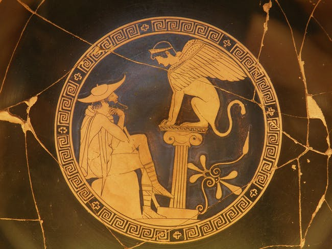 Oedipus and the Sphinx of Thebes, Red Figure Kylix, c. 470 BC