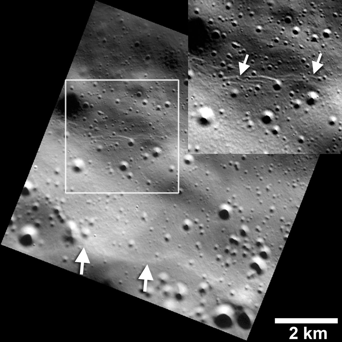NASA Messenger photo of Mercury shows craters and fault lines.