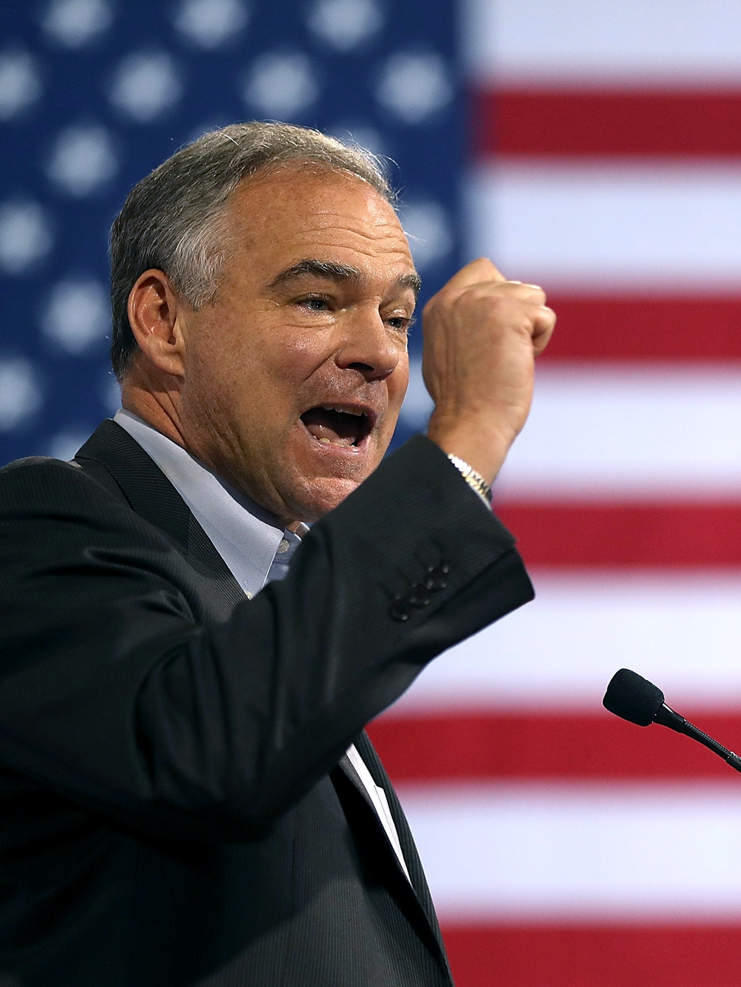 MIAMI, FL - JULY 23:  Democratic vice presidential candidate U.S. Sen. Tim Kaine (D-VA) speaks during a campaign rally with Democratic presidential candidate former Secretary of State Hillary Clinton at Florida International University Panther Arena on July 23, 2016 in Miami, Florida. Hillary Clinton and  Tim Kaine made their first public appearance together a day after the Clinton campaign announced Senator Kaine as the Democratic vice presidential candidate.   (Photo by Justin Sullivan/Getty Images)