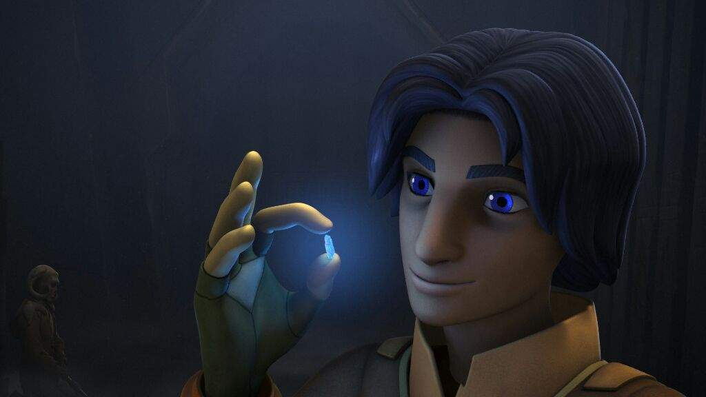 Ezra with a kyber crystal in 'Rebels'