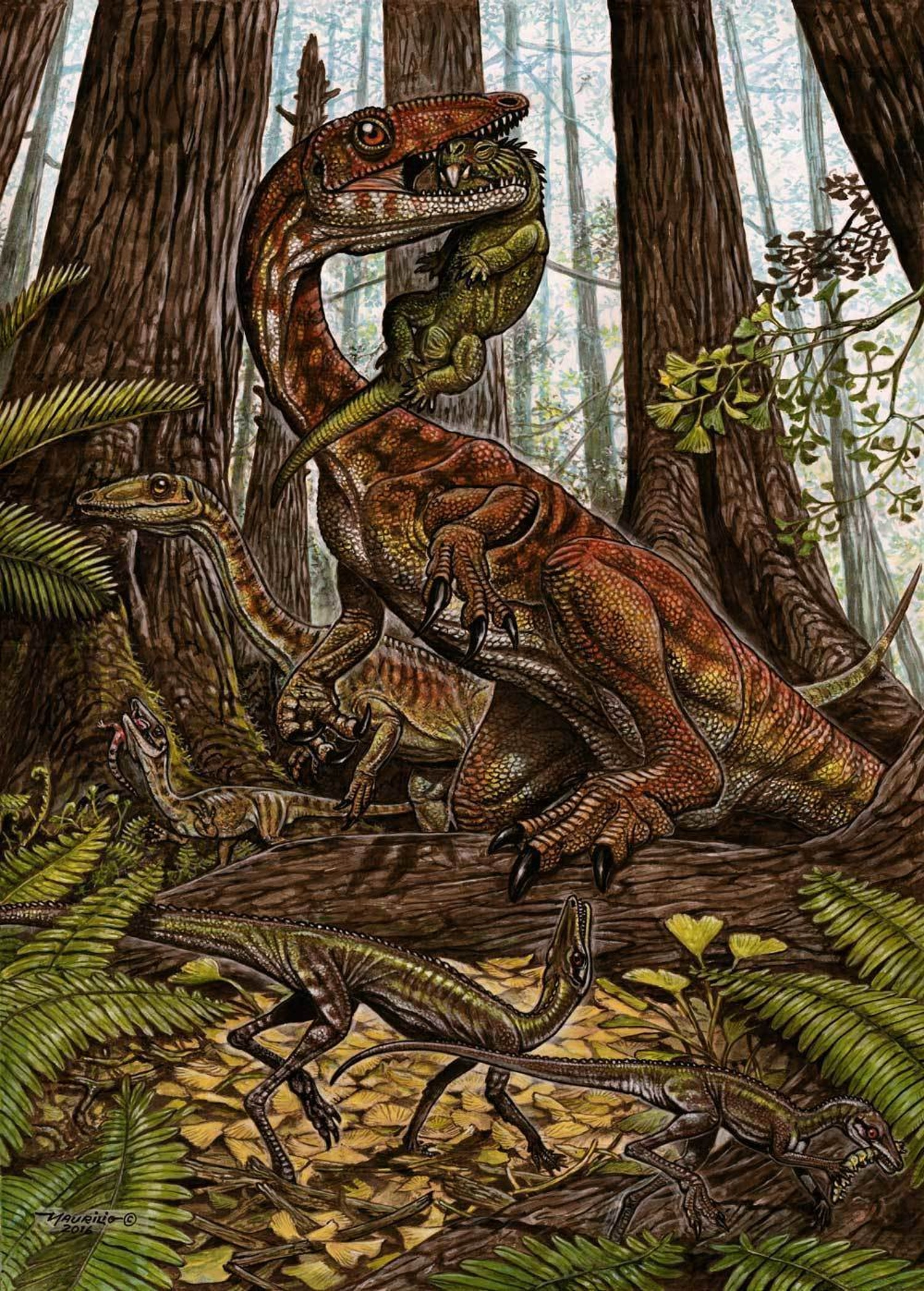 This illustration shows a group of three Buriolestes schultzi (top), one with a small rhynchosaur in its mouth and the one on the back (a juvenile) with a lizard. Below is a pair of Ixalerpeton polesinensis, one of which grabs a caterpillar. All depicted on a forested Triassic landscape.