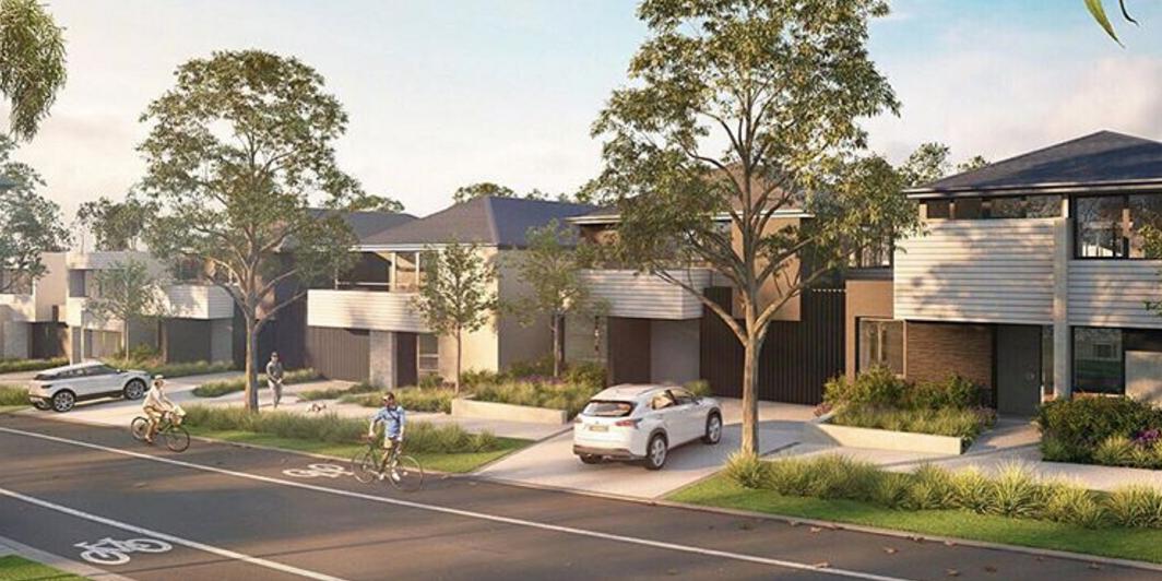 "Artist rendering of YarraBend, the first ""Tesla suburb"""