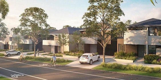 "Artist rendering of YarraBend, the first ""Tesla suburb"""