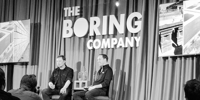 Elon Musk and Steve Davis on May 18, 2018 at a Boring Company information session in Los Angeles.