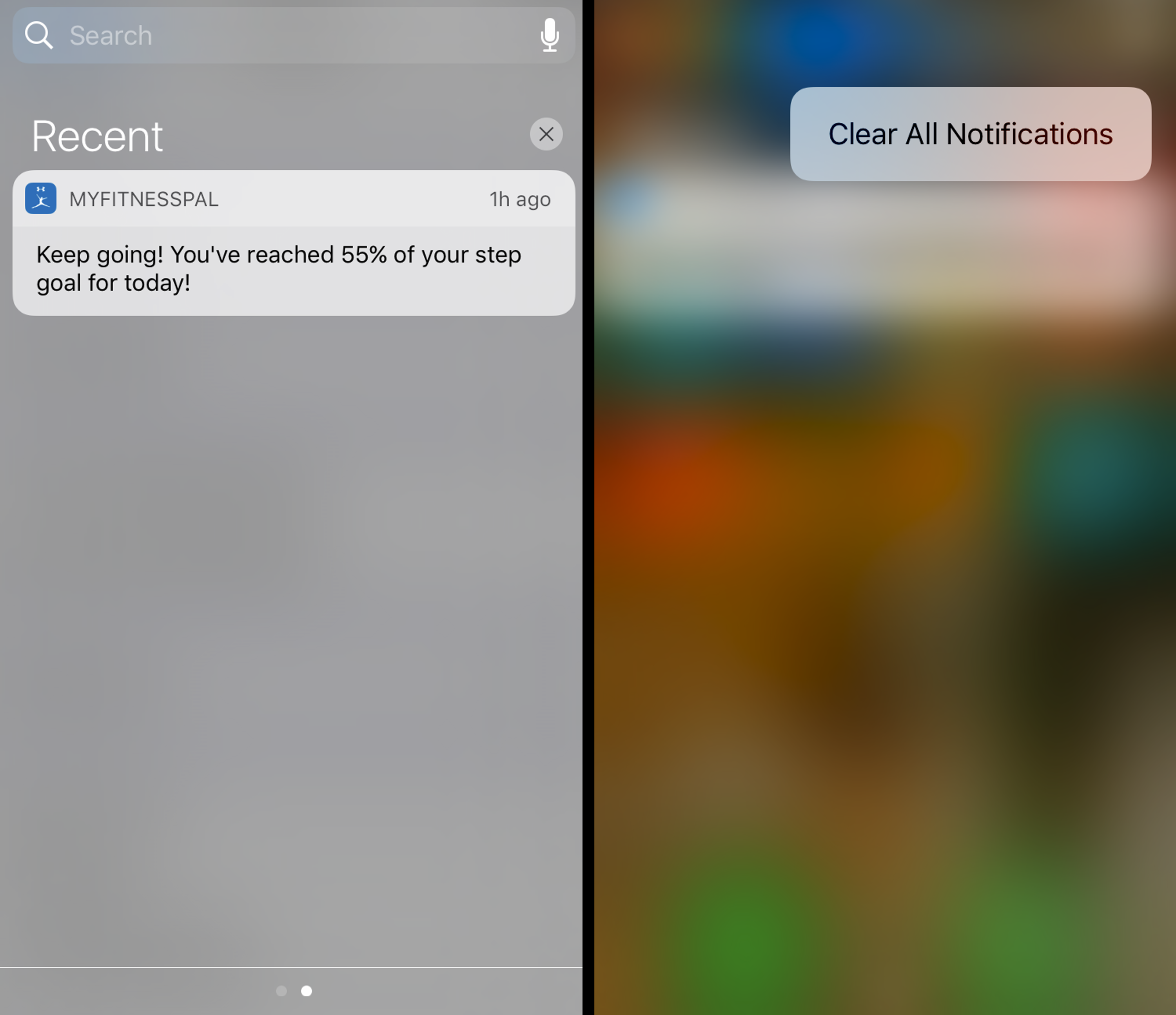 Screenshots show how to clear all notifications with iOS 10.