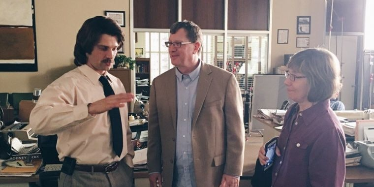 """Mike Vogel with real-life subject Lee Strobel and his wife Leslie on the set of """"The Case for Christ."""""""