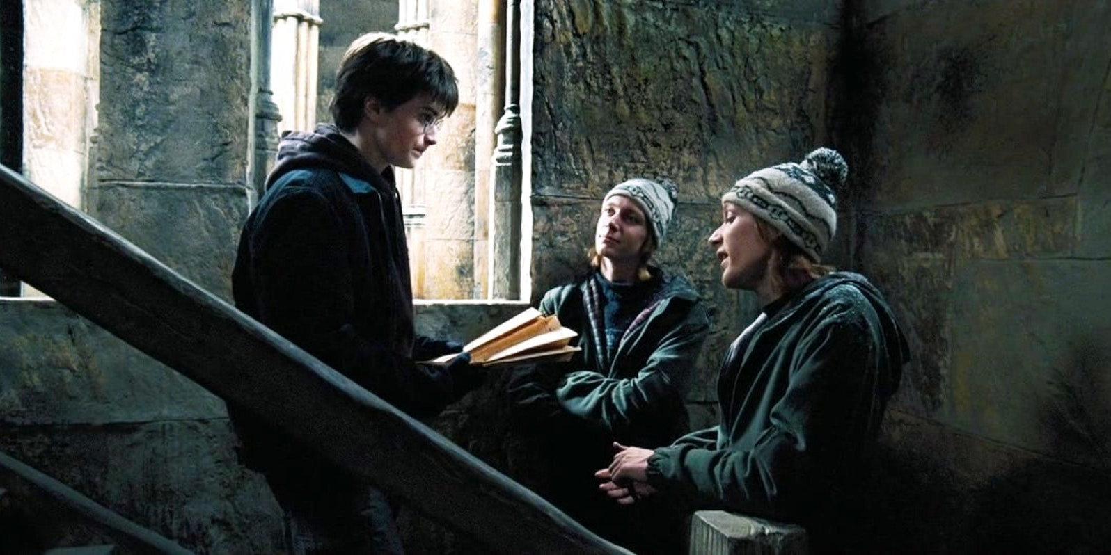 Harry Potter with Fred and George Weasley and the Marauder's Map in 'Harry Potter and the Prisoner of Azkaban'