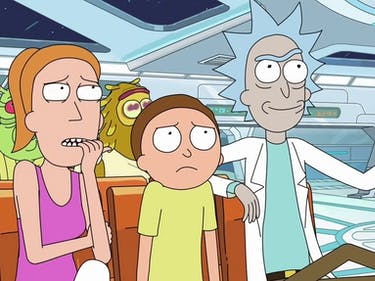 """In """"Interdimensional Cable 2: Tempting Fate,"""" Rick connects a hospital TV with his interdimensional cable device."""