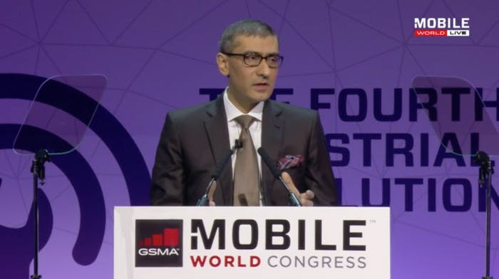 Rajeev Suri, president and CEO of Nokia, speaking at Mobile World Congress.