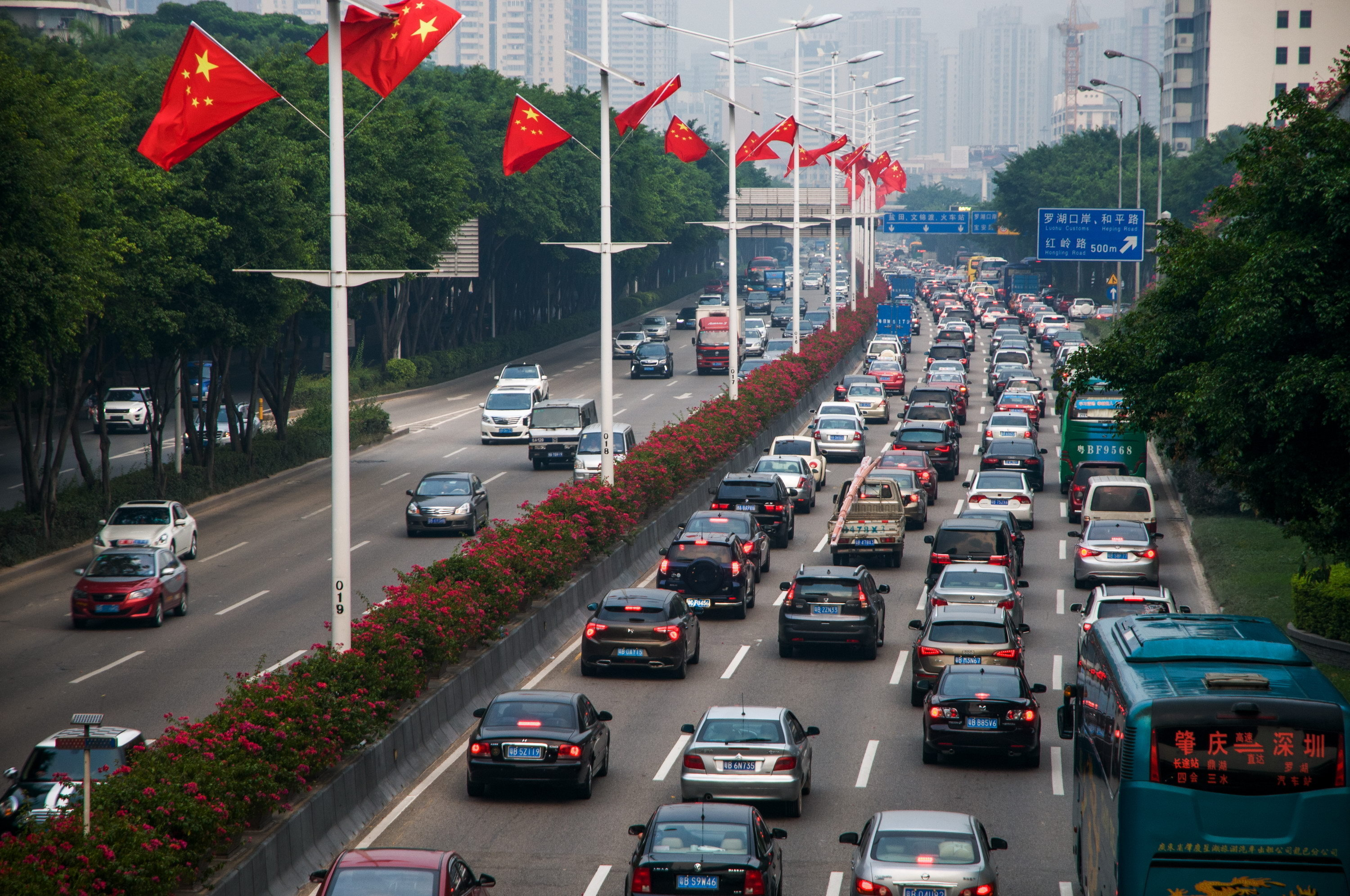 A traffic jam in Shenzhen. China's market for electric cars is rapidly expanding thanks to aggressive government actions, and Audi wants a piece of the pie.