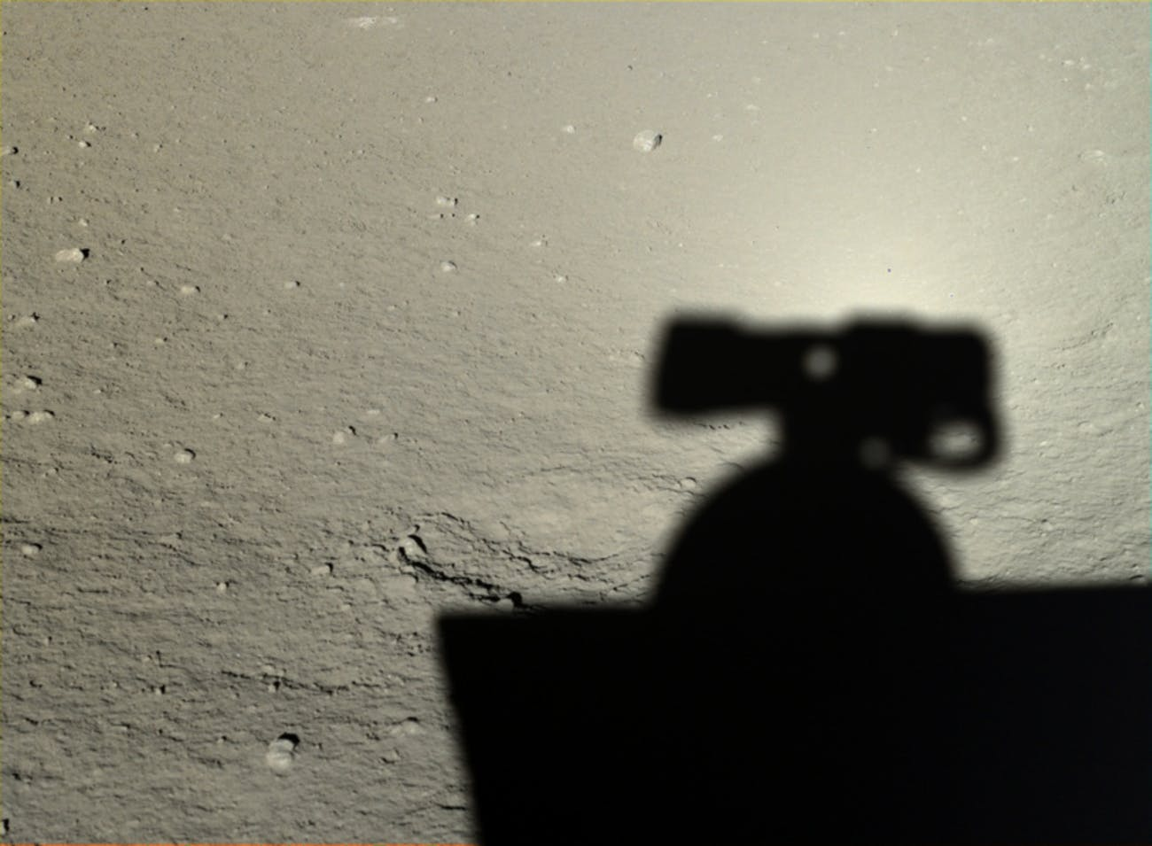 Yutu took a photo of its shadow on the moon on January 12, 2014.