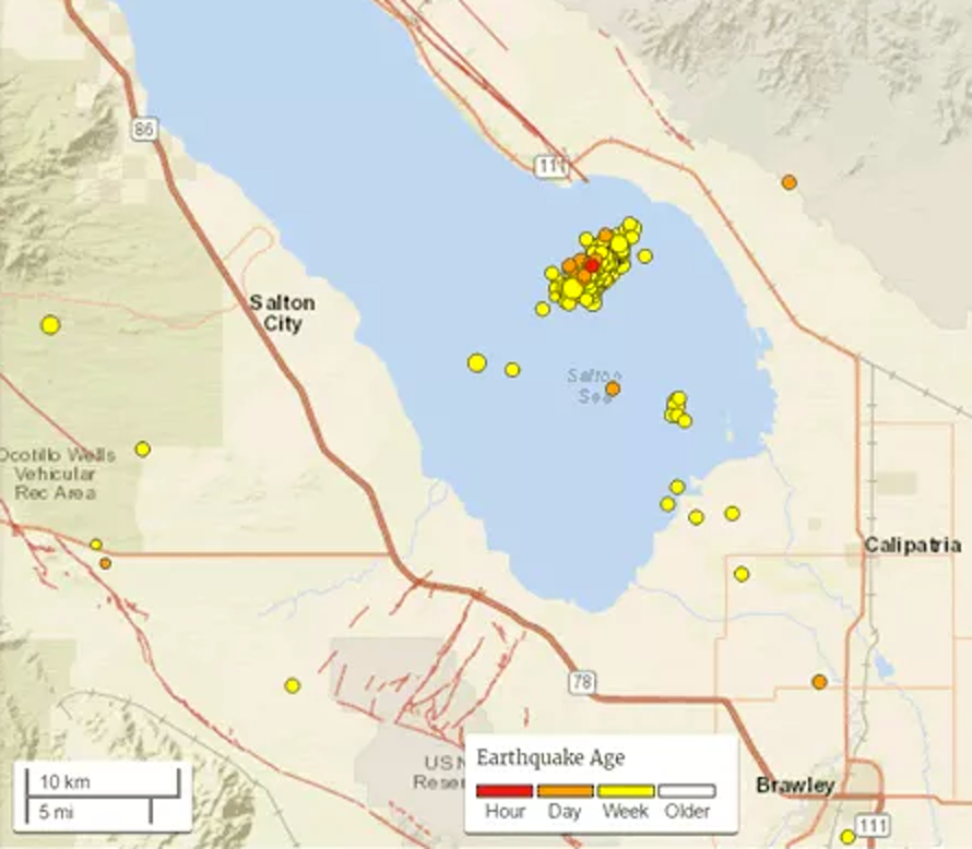 Seismologists tracked an earthquake swarm in the Salton Sea, California, in late September.