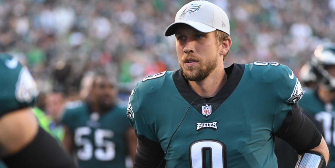 p.p1 {margin: 0.0px 0.0px 0.0px 0.0px; font: 18.0px Georgia}Philadelphia Eagles Quarterback Nick Foles (9) heads to the locker room during the football game between the Minnesota Vikings and the Philadelphia Eagles on October 7, 2018, at Lincoln Financial Field in Philadelphia, PA. (